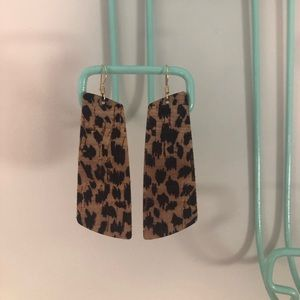 Nickel & Suede Cheetah Cork Gem Earrings